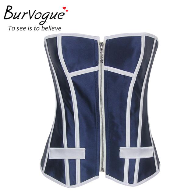 Burvogue corsé azul top tops ocasionales para las mujeres con cremallera sexy Mujeres de La Manera del corsé del Satén bustier top 20 huesos Envío Libre S-XL