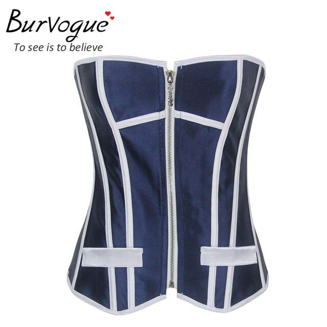 Burvogue espartilho azul top casual tops para as mulheres zipper sexy bustier Moda Feminina Cetim top corset 20 ossos Frete Grátis S-XL