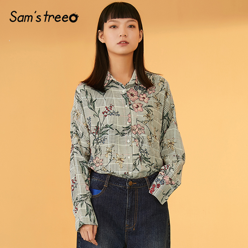 Samstree Floral Print Striped Button Boho Blouse Shirt Women Top 2019 Autumn Streetwear Casual Ladies Tops And Blouses in Blouses amp Shirts from Women 39 s Clothing