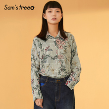 Samstree Floral Print Striped Button Boho Blouse Shirt Women Top 2019 Autumn Streetwear Casual Ladies Tops And Blouses