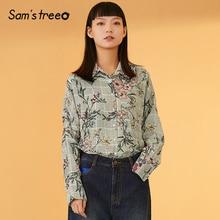 Samstree Floral Print Striped Button Boho Blouse Shirt Women Top 2019 Autumn Streetwear Casual Ladies Tops And Blouses floral print button decoration top