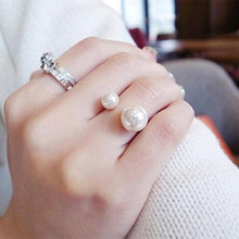 Pop U-shaped Simulated Pearls Opening Adjustable Rings Coppery Silver for Women Jewelry(China)
