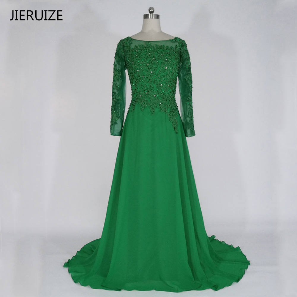 JIERUIZE Plus Size Green Lace Appliques Long Sleeves Evening Dresses Beaded Formal Dresses Mother of the