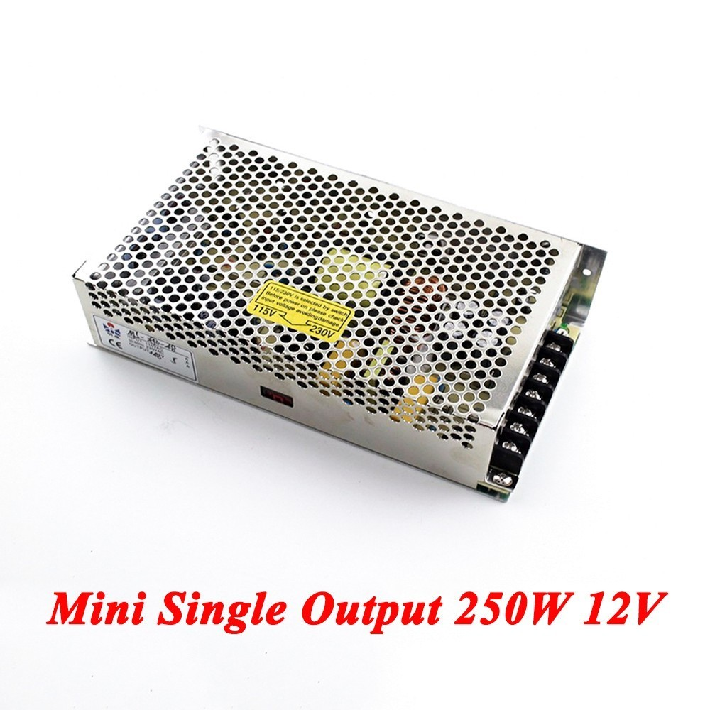 Mini Switching Power Supply 250W 12v 20A,Single Output Ac-Dc Converter For Led Strip,AC110V/220V Transformer To DC 12V s 100 12 100w 12v 8 5a single output ac dc switching power supply for led strip ac110v 220v transformer to dc led driver smps