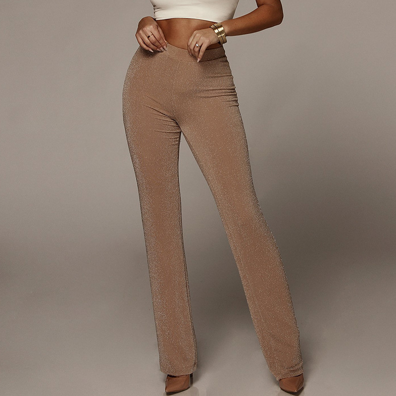 9680d50666f High waist pants for women Autumn new fashion glitter skinny flare pants  Sexy club party trousers