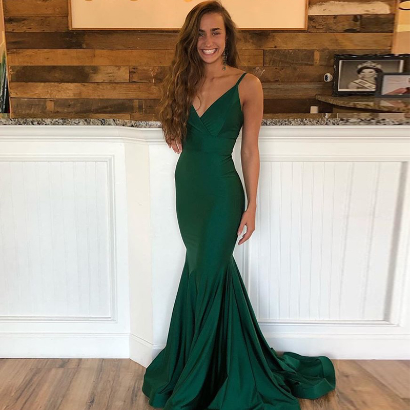 Sexy Long Evening Dresses Spaghetti Straps Dark Green Elastic Satin Sweep Train Robe De Soiree 2019 Mermaid Formal Party Dress
