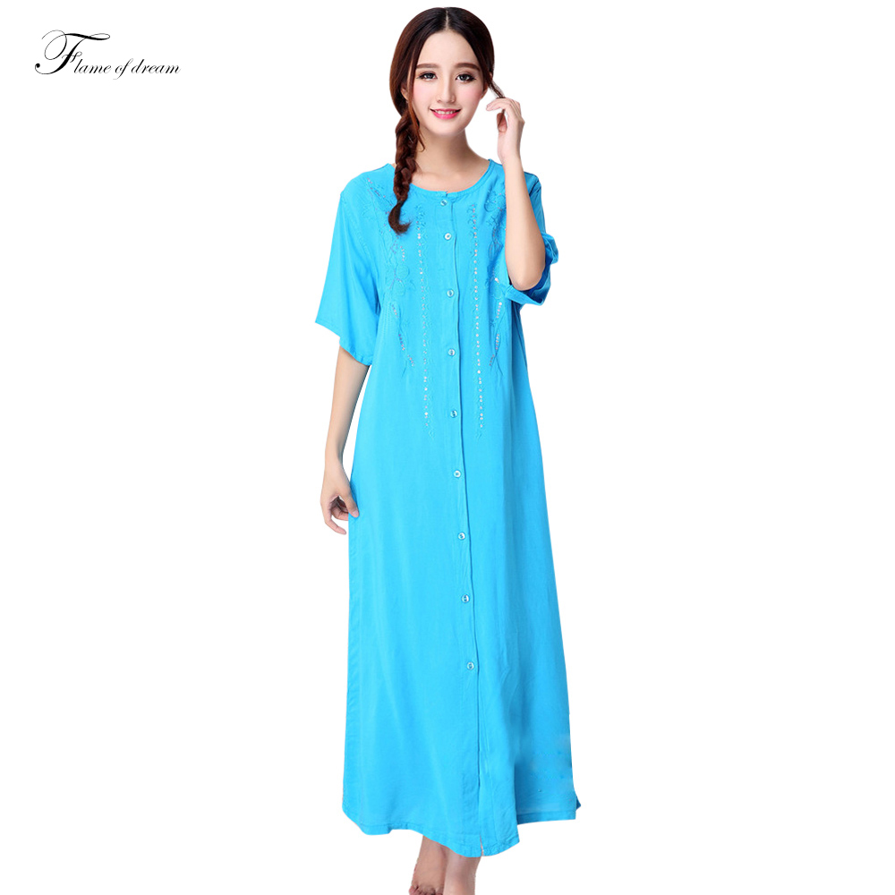 Plus size summer mm short sleeve 100 ultra cotton long Long cotton sleep shirts