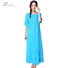Большие размеры летние мм с коротким рукавом 100% ультра хлопок длинная ночная женский пряжки 100% хлопок вышивка мм пижамы 958