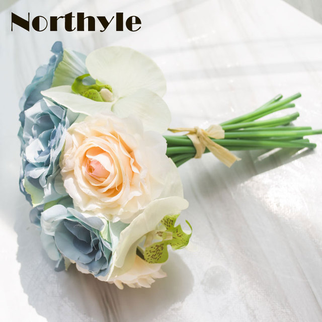artificial Moth orchid rose wedding bouquet fake flowers wedding ...