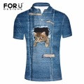FORUDESIGNS Summer Short-sleeve Shirt Male Big Size 3XL Lapel Collar Men Polo 3D Denim Cat Printed Man Clothing Breathable Polos