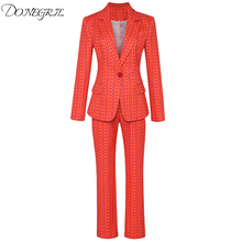 High Quality New Fashion 2019 Deesigner Runway Suit Set Wome