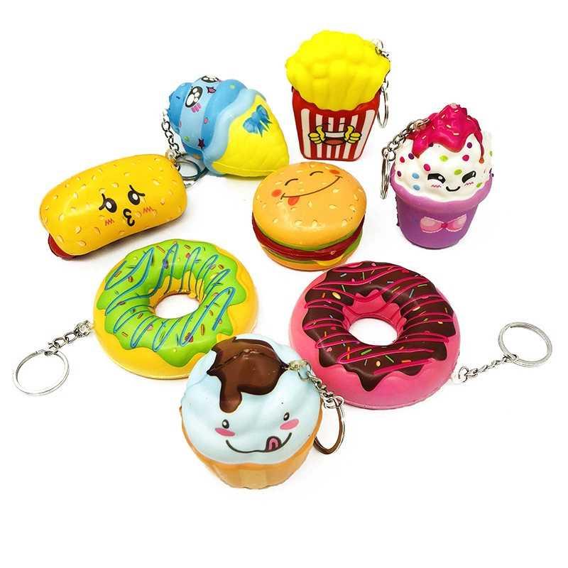 Squishy Lento Rebote Descompressão Respirável Brinquedo Da Novidade Mini Bonito Cachorro Quente Seção de Alimentos Donut Mole Keychain Dos Desenhos Animados Crianças