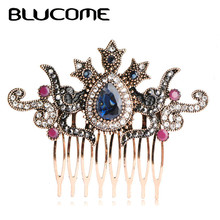 Blucome Vintage Women Hair Combs Brand Turkish Green Crown Big Water Drop Acrylic Hairwear Hair Accessories For Party Headwear(China)