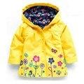 Новая Мода Малышей Девушки Цветы Ветер Дождь Куртка С Капюшоном С Длинным Рукавом Бурелом Дети Цветочный Водонепроницаемый Ourwear Пальто Топы
