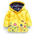 New Fashion Toddler Baby Girls Flowers Wind Rain Hooded Jacket Long Sleeve Windbreak Kids Floral Waterproof Ourwear Coat Tops