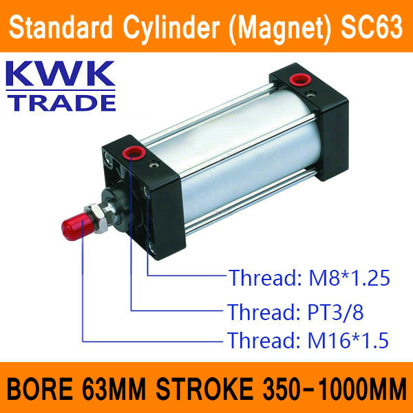 SC63 Standard Air Cylinders Valve Magnet Bore 63mm Strock 350mm to 1000mm Stroke Single Rod Double Acting Pneumatic Cylinder bronze bearing with magnet tcm tri rod cylinder bore 32 63mm stroke 25 200mm double acting refer to form in description
