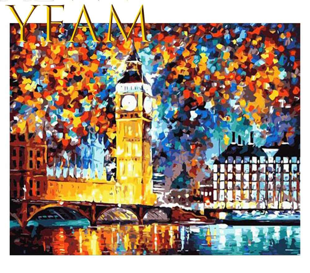 Art Abstract Bright London Big Ben Painting By Numbers Acrylic DIY Hand Paint Drawing Modern Home Decorative Wall Picture