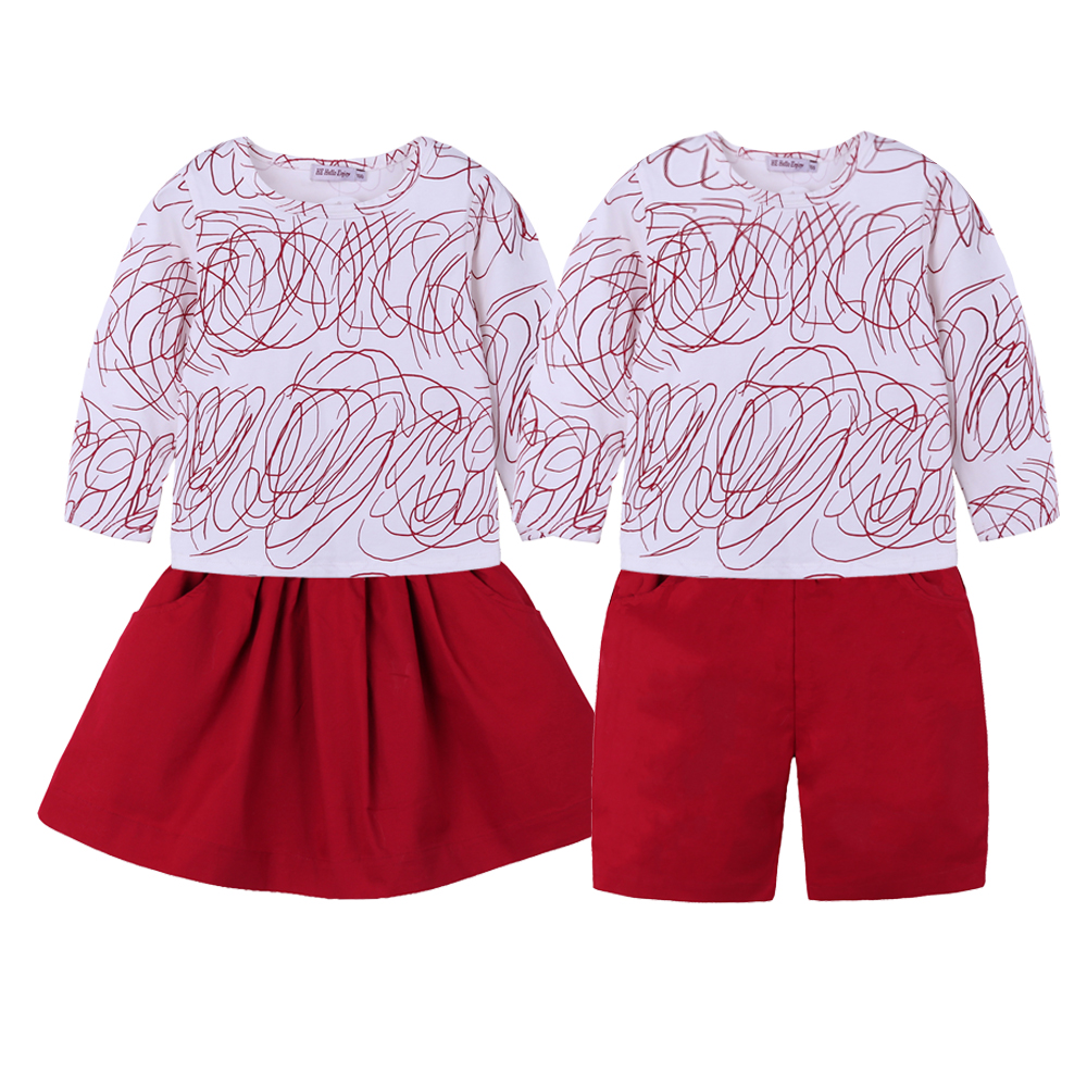 Big Sister Outfits Brother Sets Summer Family Matching Baby Kids Brother Sister Clothes Printed Long Sleeves + Red Short Skirt
