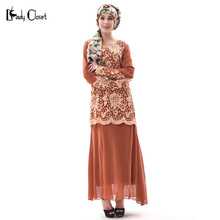 New Design Abaya turkish women clothing Islamic muslim dress Fashion Lady knitting flowers clothes vestidos longo dresses Brown