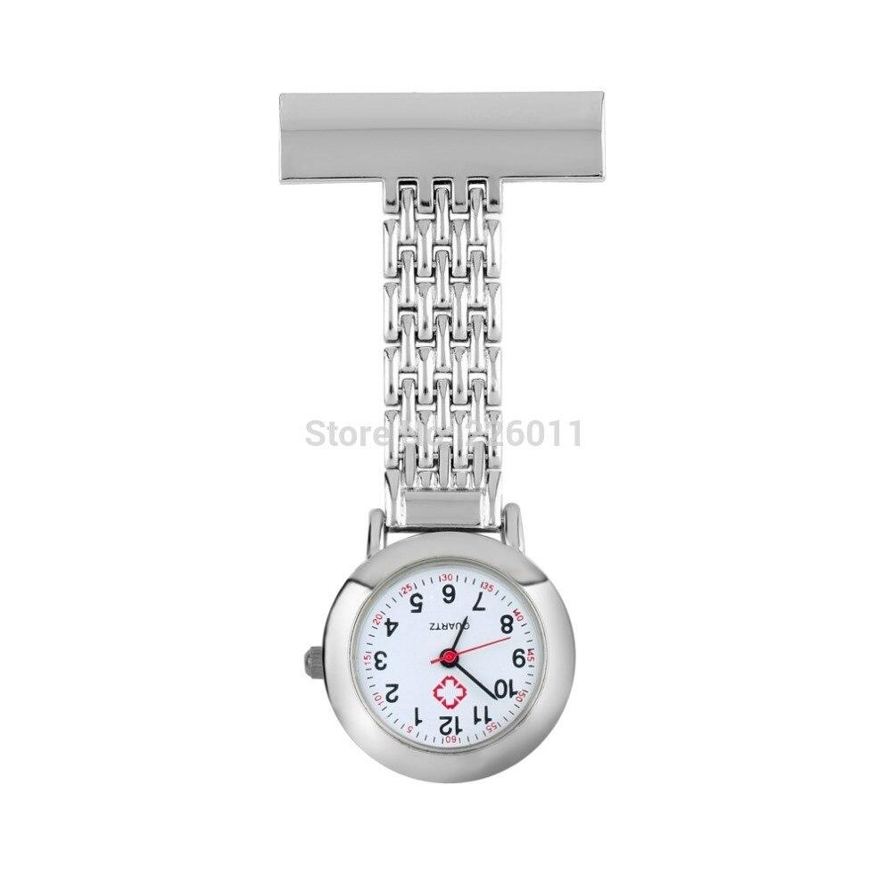 4Pcs Stainless Steel Arabic Numerals Quartz Brooch Doctor Nurse Pocket Watch Hot