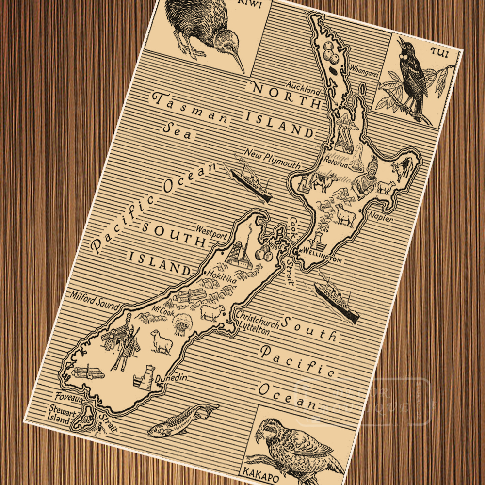 NZ New Zealand Tiki Map Maori Travel Vintage Poster Retro Canvas ...