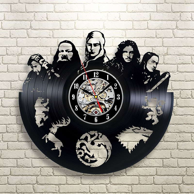 Game of Throne 3D Vinyl Record Wall Clock Black Retro Hollow Stark Dragon Wall Clock Home Decoration Vintage Home Decor Kitchen
