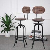 iKayaa Industrial Style Bar Stool Height Adjustable Swivel Kitchen Chair Pinewood Metal With Backrest Bar Stools US WAREHOUSE