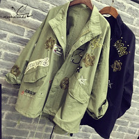 2016 Women Coat Army Green Cotton Coat Fashion Design bomber jacket Embroidery Applique Rivets Oversize Women Jacket Coat Black