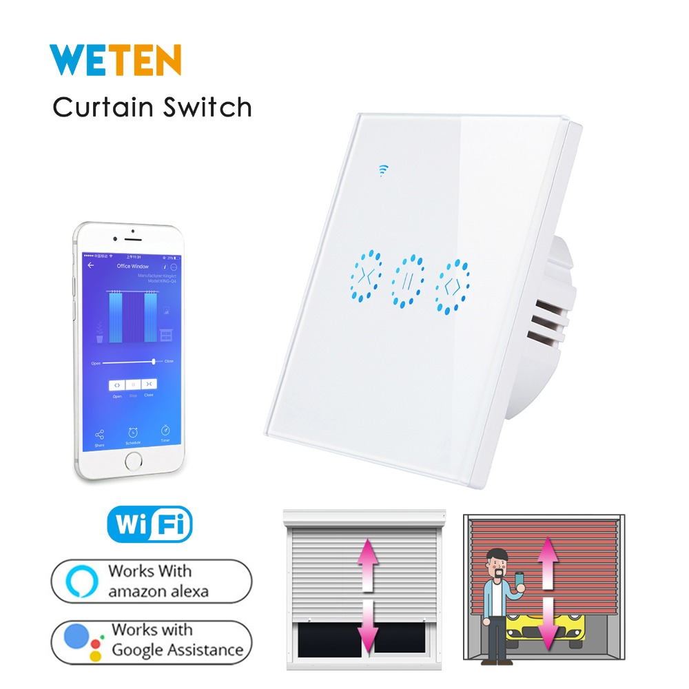 Smart Roller Shutter Wifi Switch for Electric Motorized Blinds Curtain Motor Ewelink APP Voice Control with Alexa Google Home