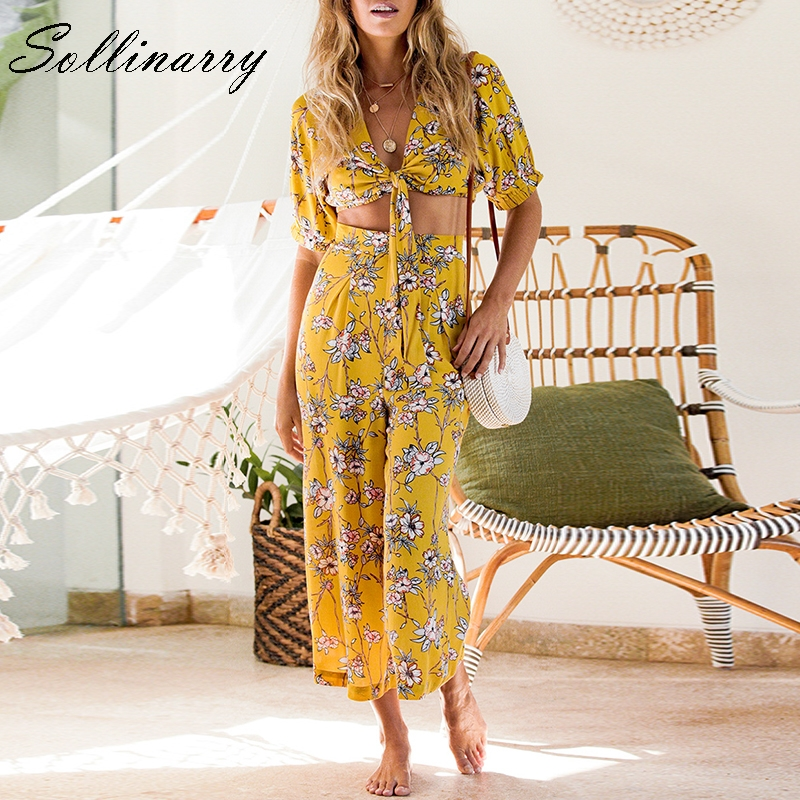 Sollinarry Casual Wide Leg Rompers Floral Feminino Sexy Beach   Jumpsuit   Rompers Bow Bohemian Women   Jumpsuits   Suits