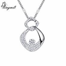 lingmei Wholesale Trendy Gorgeous Jewelry Round Cut Black & White Zircon Silver Wedding Bride Pendant Necklace Gifts For Women