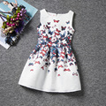 Hot sale fashion colorful butterfly patterns dresses sleeveless O-neck casual girls dress A-line knee-Length baby girl clothes