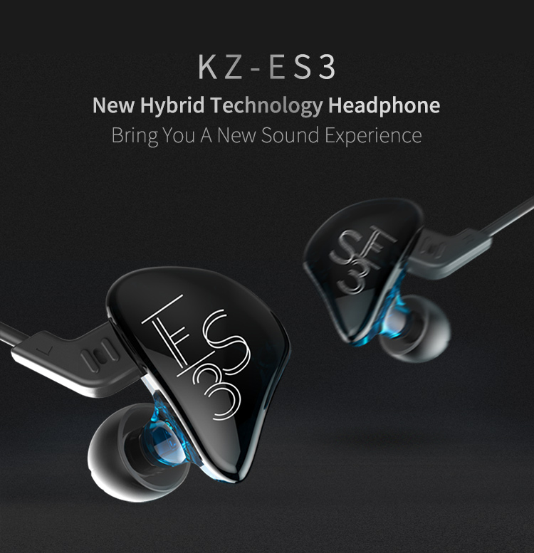 KZ ES3 Balanced Armature With Dynamic In-ear Earphone Hybrid Driver Noise Cancelling Headset Mic ZST ZS5 ZS6 new technology 2017 original senfer dt2 ie800 dynamic with 2ba hybrid drive in ear earphone ceramic hifi earphone earbuds with mmcx interface