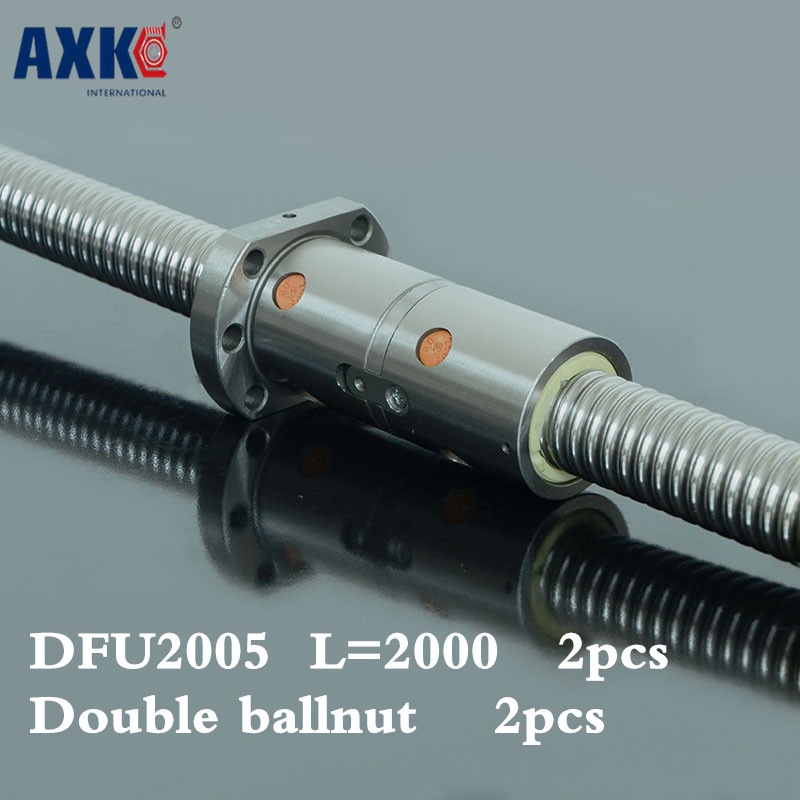 2018 Direct Selling Rushed Bearing Rolamentos 2pcs Cnc Rolled Ballscrew 2005 -l 2000mm Dfu2005 Ball Screw With Double Ballnut 2018 direct selling rushed steel thrust bearing bearing ucpa205 aperture 25mm