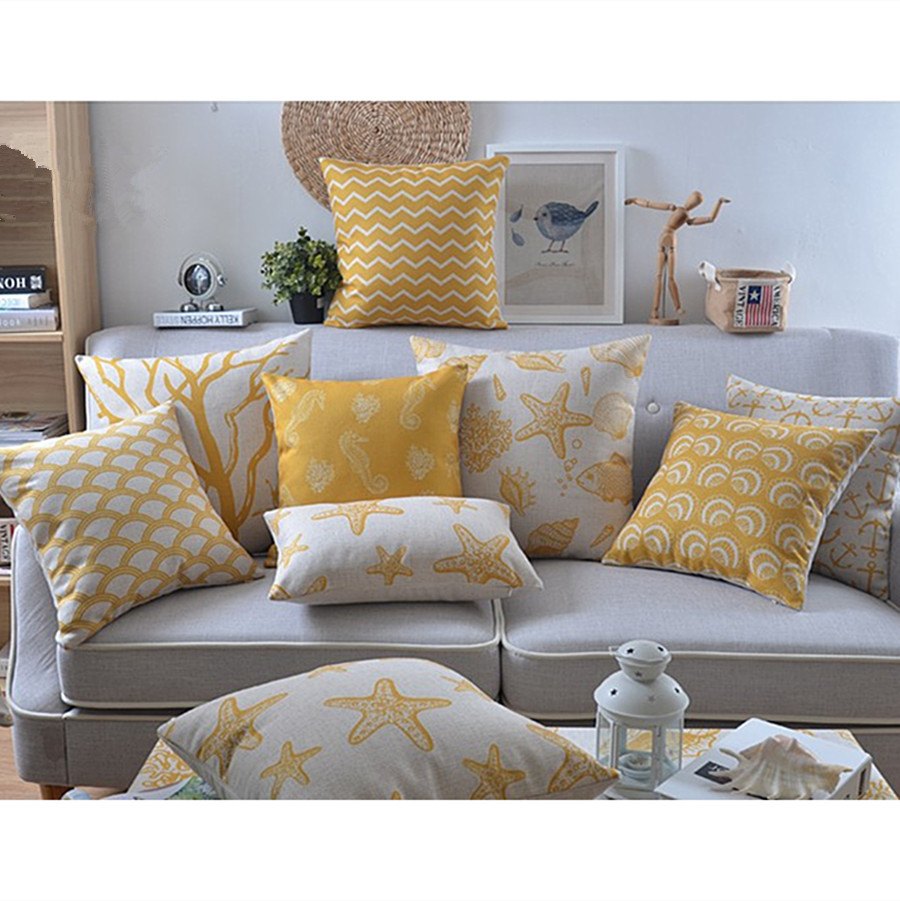 High Quality Sofa Pillows High Quality Linen Pillow Yellow Palm Tree Starfish Cushion Nord Style Home Decorative Throw Pillows 45 45cm 30 50cm Cojines