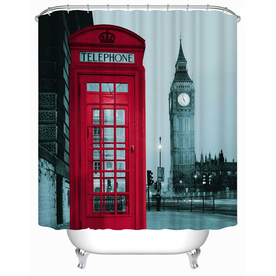 Waterproof Shower Curtains Red bus printed Polyester Bathroom ...