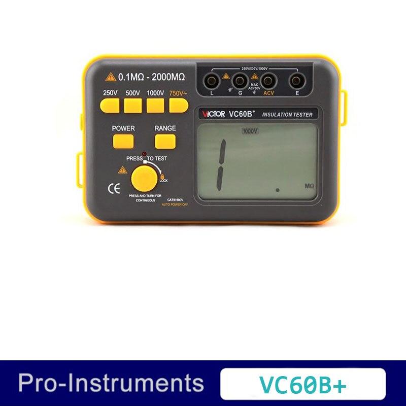 Victor VC60B+ Digital Multimeter Ground Resistance Meter Magger Meter 250V 500V 1000V Digital Insulation Tester victor 6056d digital clamp meter