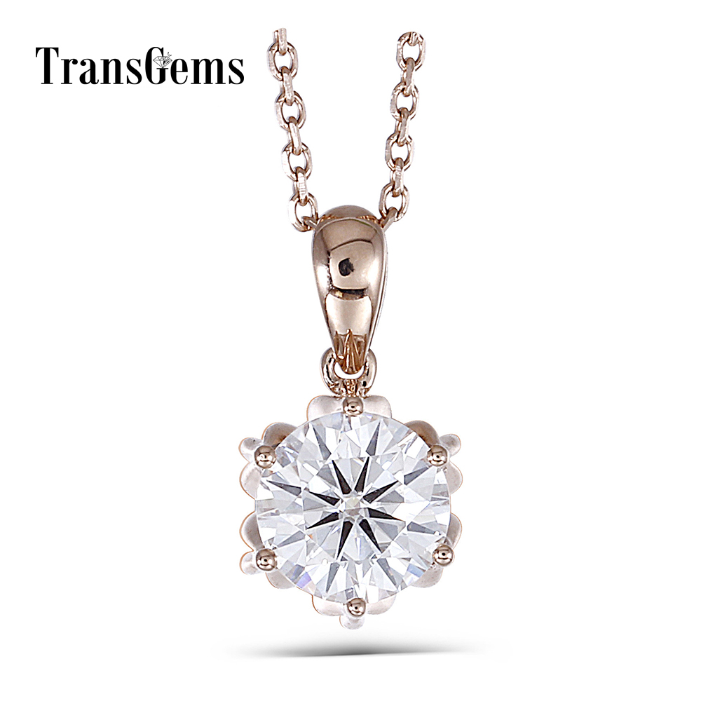 Transgems 18K Rose Gold 1CTW 6.5mm F Color Moissanite Flower Shaped Pendant Necklace with 18 18K Rose Gold Chain for Women 18k 750 white gold pendant gh color round lab grown moissanite double heart necklace diamond pendant necklace for women jewelry