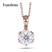 Transgems 18K Rose Gold 1CTW 6.5mm F Color Moissanite Flower Shaped Pendant Necklace with 18 Chain for Women