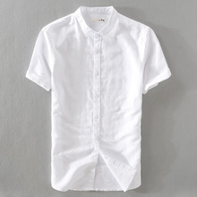 55%Linen 45%Cotton Summer Men 4XL Casual Shirts Solid White And Blue Short Sleev