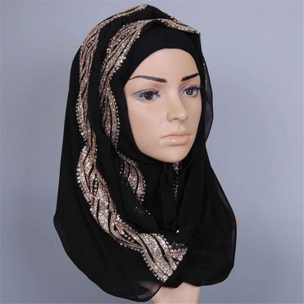 Women Wedding Hijab   scarf   with gold bronzing, solid plain hijabs long shawls ladies muslim islamic maxi chiffon   scarf     wraps