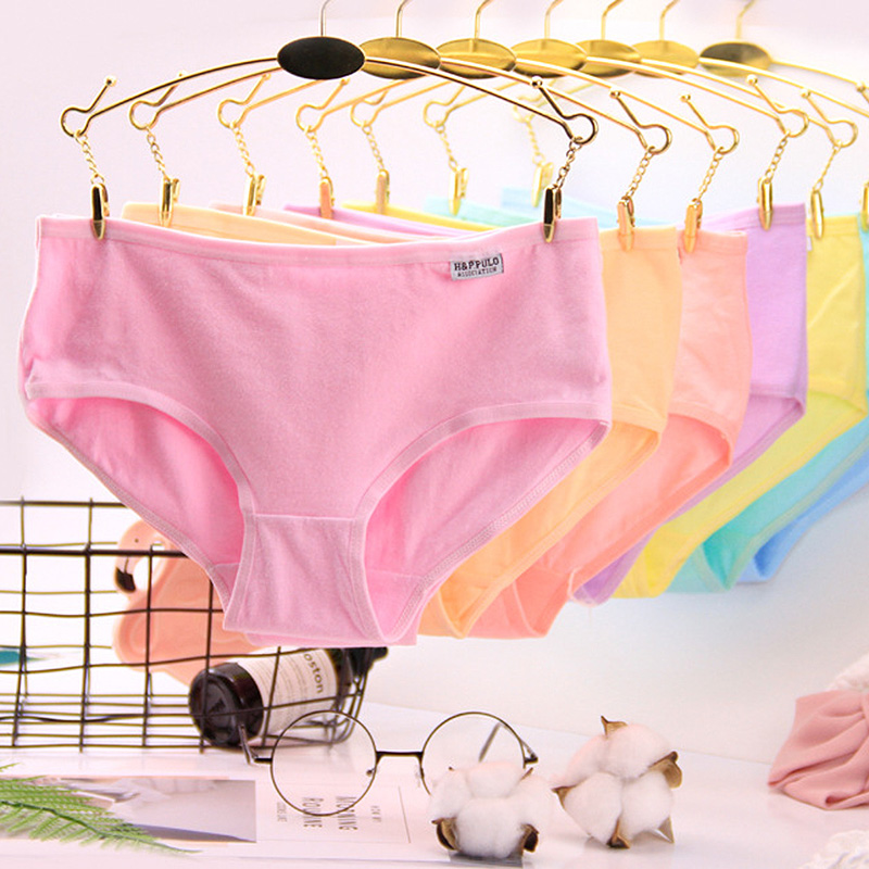 QUECOO 5pcs/lots Sets Classic Style Candy-colored Cute Sexy Briefs Cotton Comfortable women's underwear   panties   yt24