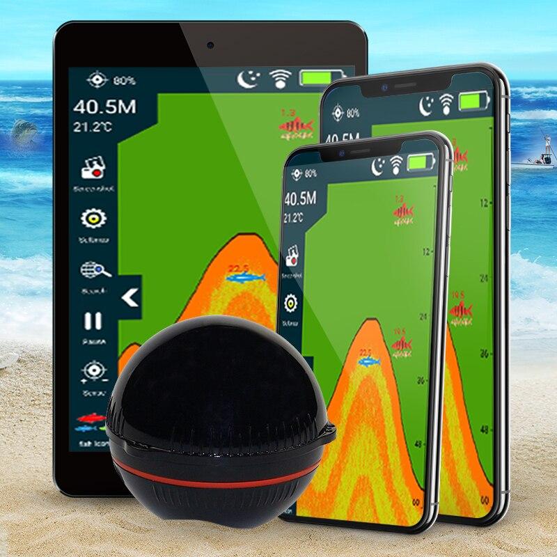 Erchang Portable Wireless Sonar Sensor Fish Finder for Lake Sea Fishing Sonar Depth Finder Transducer Sonar