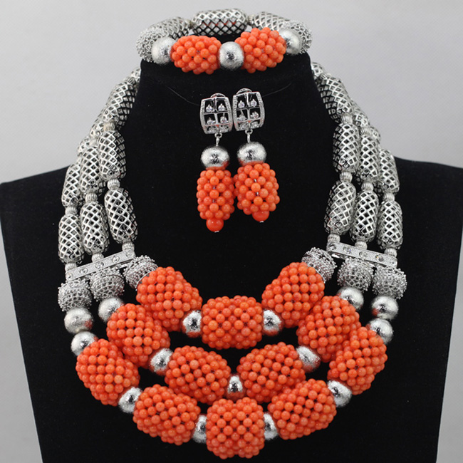 Fashion Exclusive Orange African Coral Bead for Women Costume Party Jewelry Set Sliver Plated Necklace Set Free Shipping ABL771 dandie fashionable necklace with orange acrylic bead elegant weave braid bead necklace jewelry for women