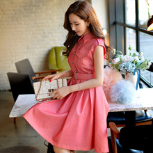 Original 2016 Brand Vestidos Plus Size Sleeveless Buttons Casual Slim Waist Turn-down Collar Vintage Shirt Dress Women Wholesale