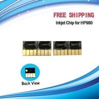 Para HP980 chip de inyección de tinta Permanente para HP980BK C M Y Color del cartucho de tinta Officejet Empresa X585dn X585f X585z X555dn X555xh