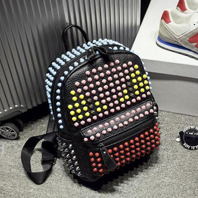 2016 New Girls Colorful Rivets Backpack PU Leather Monster School Bags For Women Fashion Popular Teenagers Travel Bags 4 colors