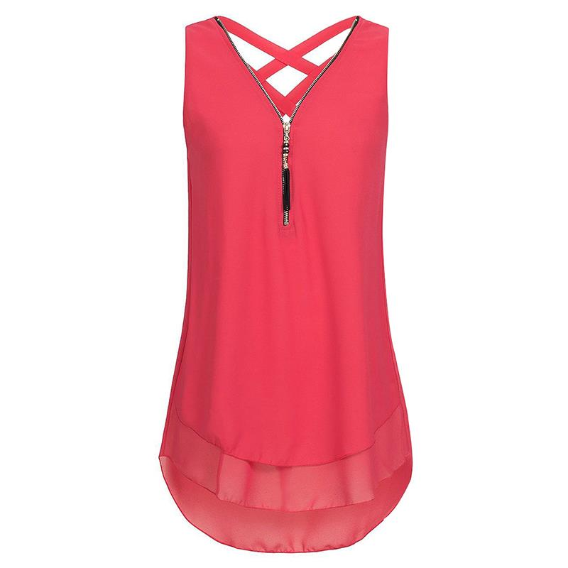 7b6a27fe0342b1 2018 Summer Zipper Criss Cross Chiffon Shirt Women Fashion V-Neck  Sleeveless Blouse Tops Plus Size Streetwear S-5XL WS7080S