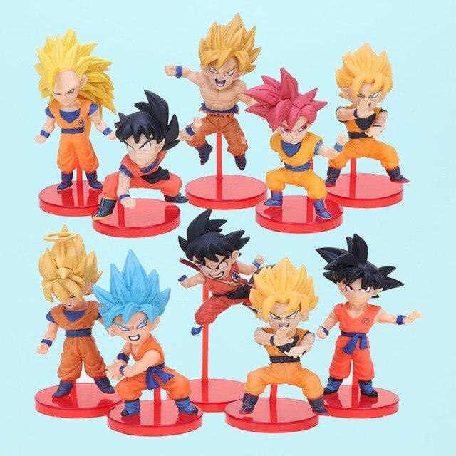 10 pçs/set Figura Dragon Ball Z Dragonball WCF Super Batalha de Saiyans Deus Goku Ação PVC Figuras de Cabelo Azul Vermelho brinquedos modelo