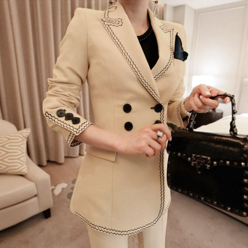 2019 printemps pantalon de travail costumes femmes Double boutonnage Blazer veste & pantalon crayon 2 pièces ensemble OL femme kaki costume